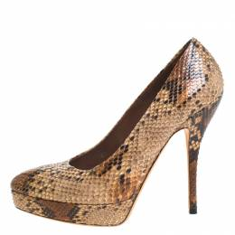 Gucci Brown Python Leather Platform Pumps Size 38