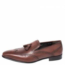 Salvatore Ferregamo Brown Brogue Leather Tassel Loafers Size 44.5 Salvatore Ferragamo