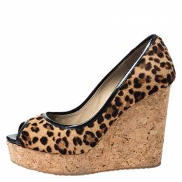 Jimmy Choo Leopard Print Pony Hair And Patent Trim Papina Cork Wedge Pumps Size 39.5