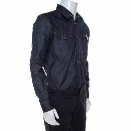 Givenchy Dark Blue Denim Leather Trim Button Front Shirt M
