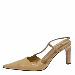 Chanel Beige Leather Pointed Toe Slingback Sandals Size 37.5 259879