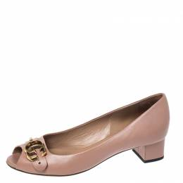Gucci Pink Leather Marmont GG Peep Toe Block Heel Pumps Size 37.5 261089