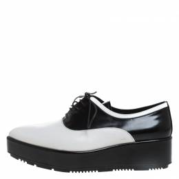 Prada Monochrome Leather Platform Oxford Pointed Toe Flats Size 38.5