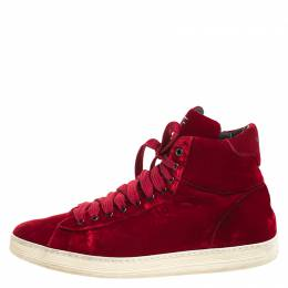 Tom Ford Red Velvet Russell High Top Sneakers Size 45 259230
