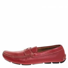 Prada Red Leather Penny Loafers Size 42