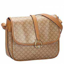 Celine Brown/Beige Macadam Canvas Crossbody Bag