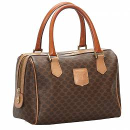Celine Brown Macadam Canvas Boston Bag