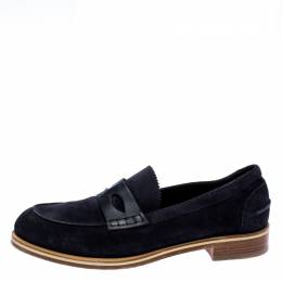 Christian Louboutin Navy Blue Suede Montezumolle Loafers Size 41.5