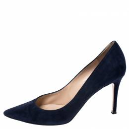 Gianvito Rossi Navy Blue Suede Gianvito Pointed Toe Pumps Size 37.5