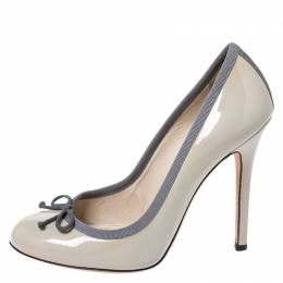 Dolce and Gabbana Grey Patent Leather Bow Round Toe Pumps Size 38.5