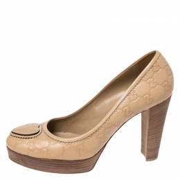 Gucci Beige Guccissima Leather Round Toe Platform Pumps Size 40.5 260832