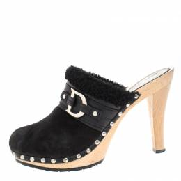 Dior Black Suede and Shearling Logo Buckle Clogs Size 40 260839