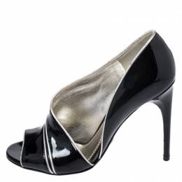 Dolce and Gabbana Black Patent Leather And Leather Piping Detail Peep Toe D'orsay Pump Size 36.5