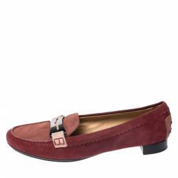 Tod's Red Suede Penny Loafers Size 40 Tod's