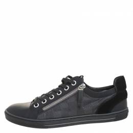 Louis Vuitton	 Graphite Damier Nylon And Black Leather/Suede Adventure Low Top Sneakers Size 41 259497