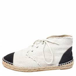 Chanel Two Tone Canvas Cap Toe CC Espadrille Sneakers Size 37 258673