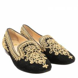 Christian Louboutin Black/Gold Suede Embroidered Sakouette Maroc Loafers Size 35.5