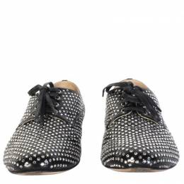 Miu Miu Black Glitters Canvas Derby Shoes Size 39