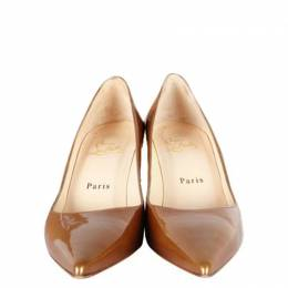 Christian Louboutin Brown Patent Leather Decoltissimo Pumps Size 37