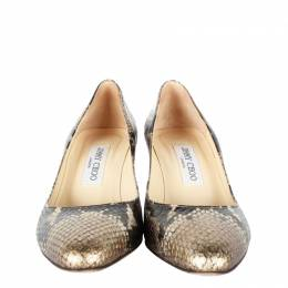 Jimmy Choo Black/Gold Faux Snake Leather Pumps Size 37
