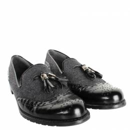 Stuart Weitzman Black/Gray Leather Flannel Loafers Size 39.5
