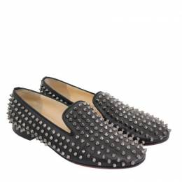 Christian Louboutin Black Leather Rolling Spikes Loafer Size 40