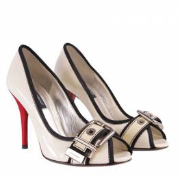Dolce and Gabbana White Patent Buckle Pumps Size 35
