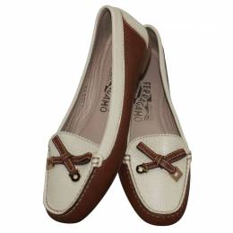 Salvatore Ferragamo	 White/Brown Leather Loafers Size 34.5