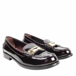 Louis Vuitton Brown Patent Leather Loafers Size 37