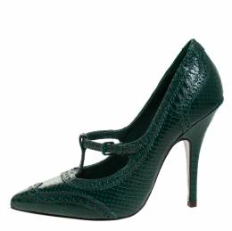 Tory Burch	 Green Brogue Python Embossed Leather Everly Pumps Size 39