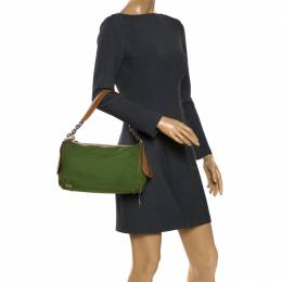 Tod's Green Nylon Shoulder Bag 269268