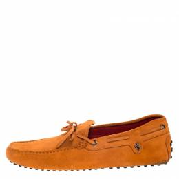 Tod's For Ferrari Orange Suede Bow Loafers Size 42 Tod's