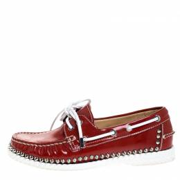 Christian Louboutin Red Patent Leather Steckel Spike Boat Loafers Size 37.5