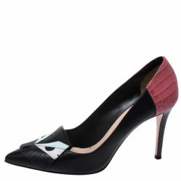 Fendi Multicolor Leather Monster Eyes Pointed Toe Pumps Size 40
