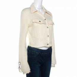 Dior Boutique Vintage Off White Mohair Cropped Jacket M 269362