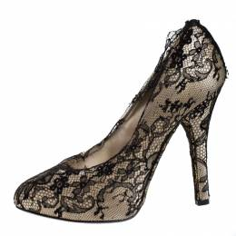 Dolce and Gabbana Cream Satin And Black Lace Platform Pumps Size 38.5
