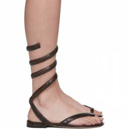 Bottega Veneta Brown Python Spiral Sandals 608864 VF3Q0