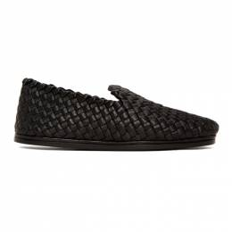 Bottega Veneta	 Black Intrecciato Tubolare Loafers 611145 VBSN0