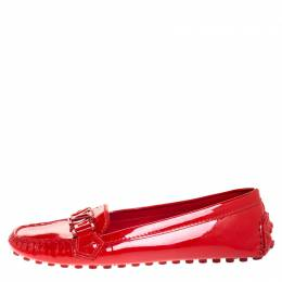 Louis Vuitton Red Patent Leather Oxford Loafers Size 38