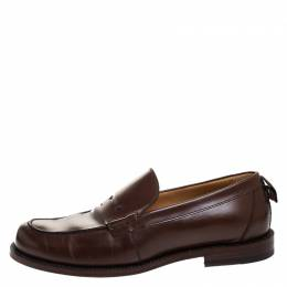 Gucci Brown Leather Penny Loafers Size 43.5