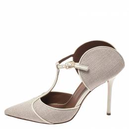 Malone Souliers Beige Canvas And Leather Trim Imogen Pumps Size 39