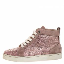 Christian Louboutin Pink Crystal Embellished Suede Leather Louis High Top Sneakers Size 37 270771