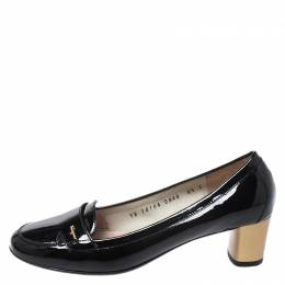 Salvatore Ferragamo	 Black Patent Leather Loafer Pumps Size 37