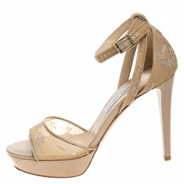Jimmy Choo Beige Lace And Patent Leather Trim Ankle Strap Platform Sandals Size 40 270892
