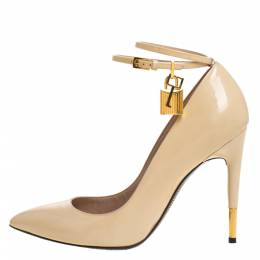 Tom Ford Beige Patent Leather Padlock Ankle Wrap Pointed Toe Pumps Size 40 270822