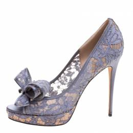 Valentino Glossy Grey Floral Lace Couture Bow Peep Toe Platform Pumps Size 40