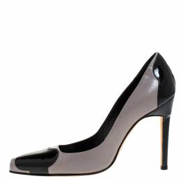 Manolo Blahnik Two Tone Leather And Patent Leather Adra Pumps Size 38