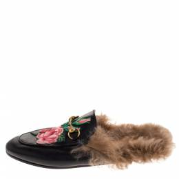 Gucci Black Floral Embroidered Leather and Fur Lined Princetown Mules Size 44