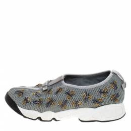 Dior Grey Bee Embellished Mesh Fusion Slip On Sneakers Size 37 271077