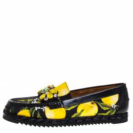 Dolce and Gabbana Yellow/Black Lemon Print Fabric and Leather Crystal Embellished Loafers Size 40.5